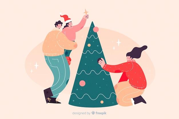 Família feliz que decora o fundo da árvore de natal