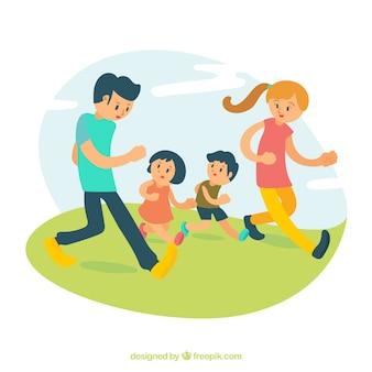 Família feliz que joga no parque