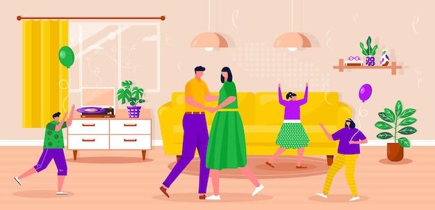 Família feliz relaxando, dançando, ouvindo música com disco de vinil. pais com filhos passando um tempo juntos. marido e mulher desfrutando de entretenimento doméstico. ilustração em vetor plana interior