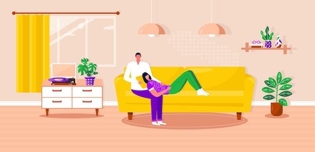 Família feliz relaxando no sofá, ouvir música com disco de vinil. homem e mulher passando um tempo juntos. marido e mulher no sofá confortável, desfrutando de entretenimento doméstico. ilustração em vetor plana interior