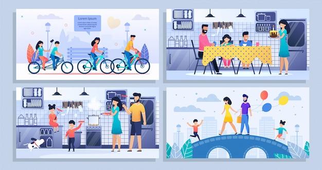 Família feliz rotina diária plana banner maquete conjunto