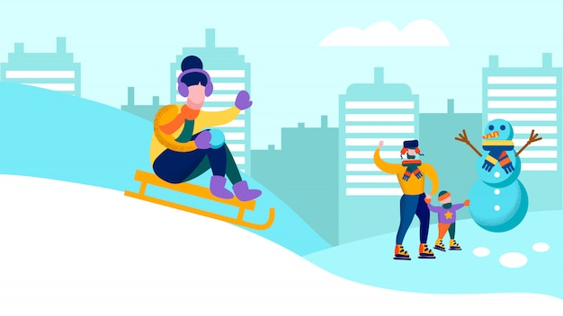 Família feliz, se divertindo juntos, banner de inverno