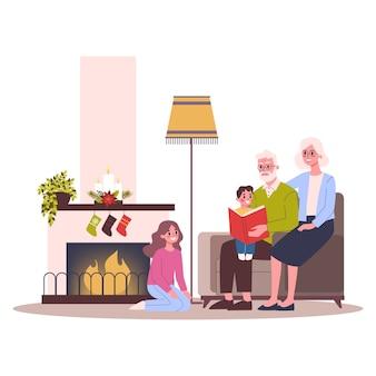 Família feliz se divertir na festa de natal. festa em casa. comemoração de ano novo. ilustração em estilo cartoon