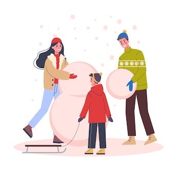 Família feliz se divertir na festa de natal. festa em casa. pai mãe e filho construindo um boneco de neve. atividades ao ar livre de inverno. comemoração de ano novo. ilustração em estilo cartoon