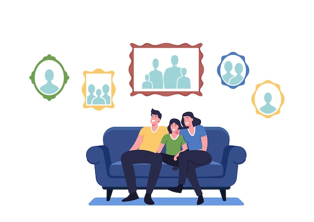 Família feliz sentada no sofá na sala de estar com fotos penduradas na parede. mãe, pai e filhos personagens em casa com a coleção de retratos de fotos de parentes. ilustração em vetor desenho animado