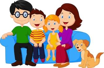 Família feliz, sentar sofá
