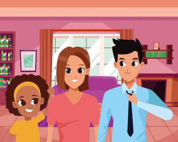 Família feliz sorrindo dentro de casa desenhos animados