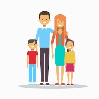 Família feliz sorrindo pais com dois filhos abraçando isolado