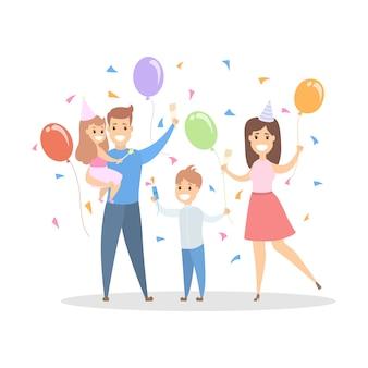 Família feliz tem uma grande festa de aniversário com balões. as crianças se divertem e dançam com o pai e a mãe. ilustração