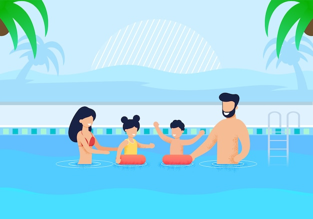 Família feliz, tendo o resto na piscina dos desenhos animados
