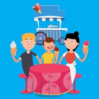 Família feliz tomando sorvete. fim de semana em família. ilustração vetorial