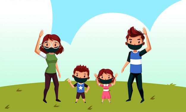 Família feliz usar máscara durante o novo normal