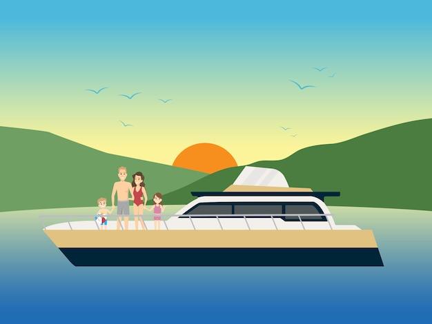 Família feliz vai de iate de férias.
