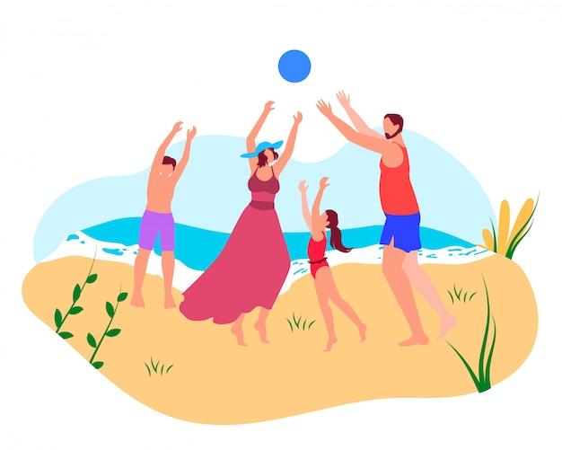 Família feliz verão férias lazer tempo no mar