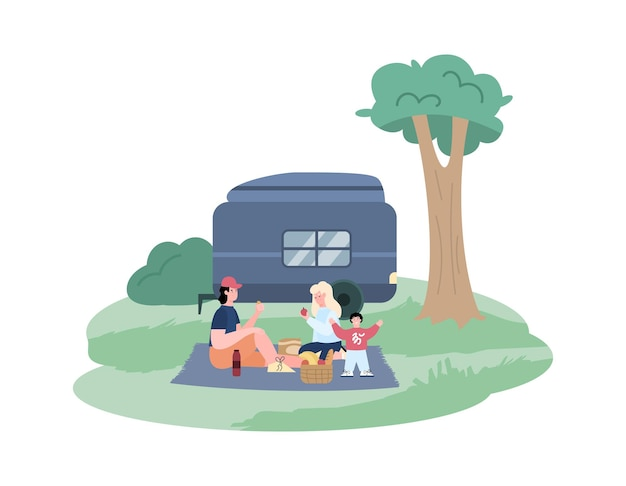 Família feliz viaja em ilustração vetorial de desenho animado de trailer isolada no branco