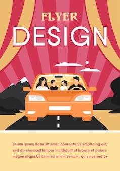 Família feliz viajando em automóvel isolado plana modelo de folheto