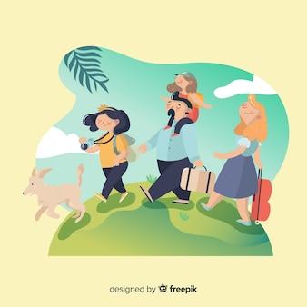 Família feliz viajando em estilo cartoon