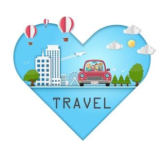 Família feliz viajando no carro vermelho ao redor do mundo