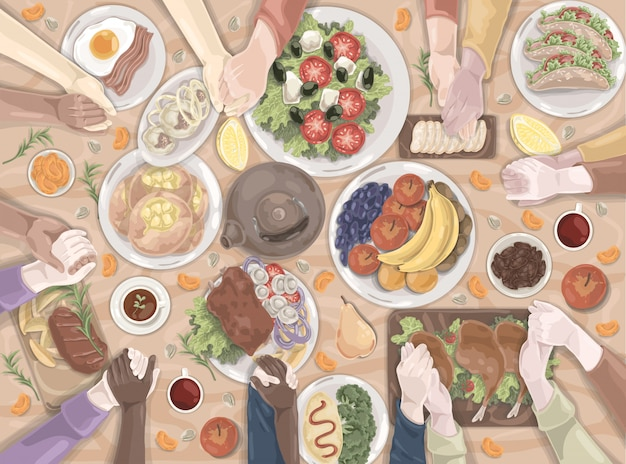 Família, férias, almoço, conjunto de alimentos