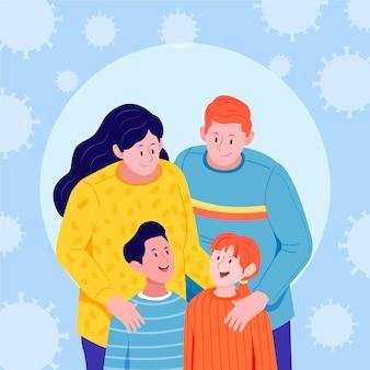 Família ficando juntos e se protegendo