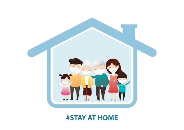 Família ficar em casa em quarentena, proteção contra vírus.