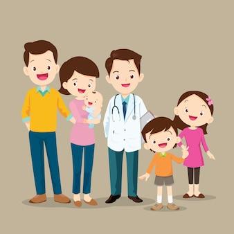 Família fofa com bebê e médico