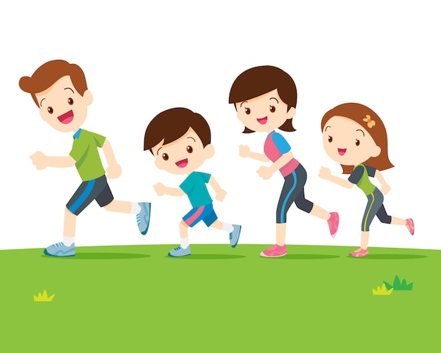 Família fofa correndo juntos