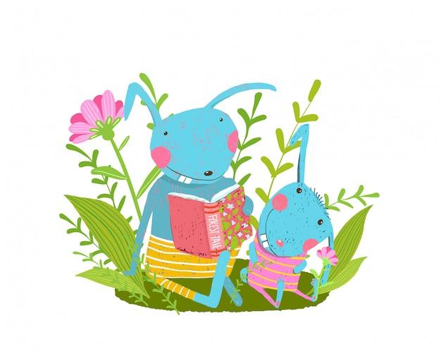 Família fofa de coelho lendo um livro na floresta, pai e coelho bebê.