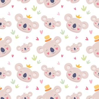 Família fofa de têxteis de padrão sem emenda de coalas