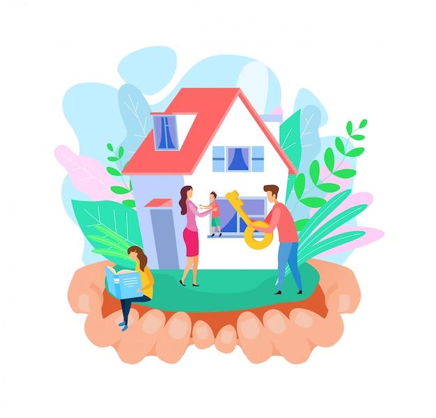 Família fora de casa nova plana