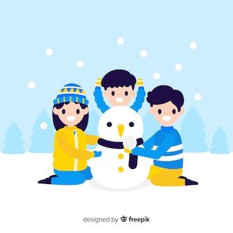 Família fundo, predios, um, boneco neve