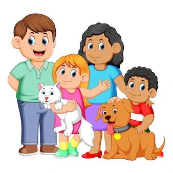 Família grande, com, animais estimação