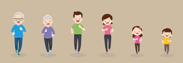 Família grande correndo, fazendo exercícios juntos para uma boa saúde