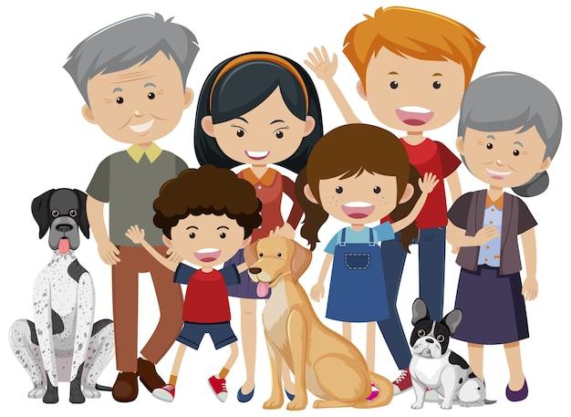 Família grande e feliz com muitos membros e seu cachorro de estimação