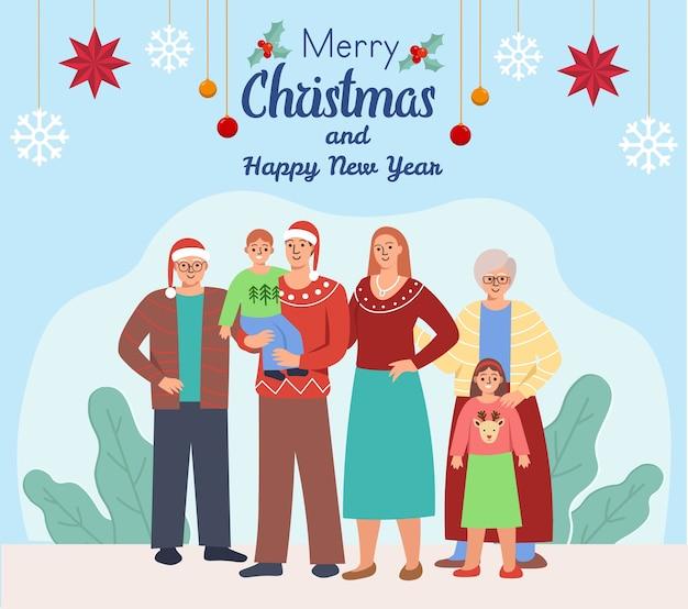 Família grande e feliz com pais e filhos