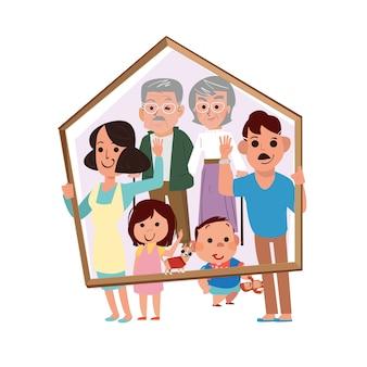 Família grande na ilustração em casa