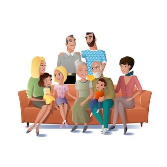Família grande que recolhe junto o conceito do vetor