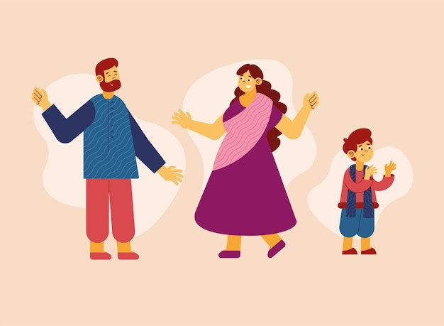 Família hindu comemorando diwali