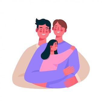 Família homossexual feliz, casal gay com um bebê.