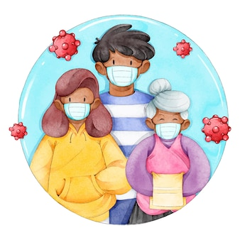 Família ilustrada protegida do vírus