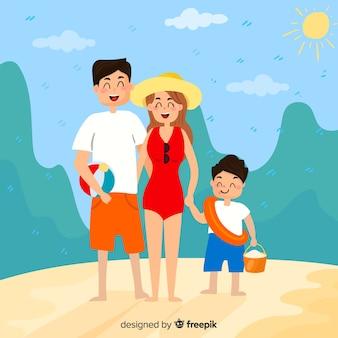 Família indo para o fundo da praia