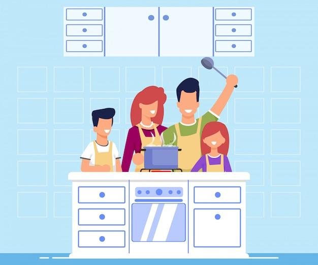 Família informativa da bandeira que cozinha o plano dos desenhos animados.