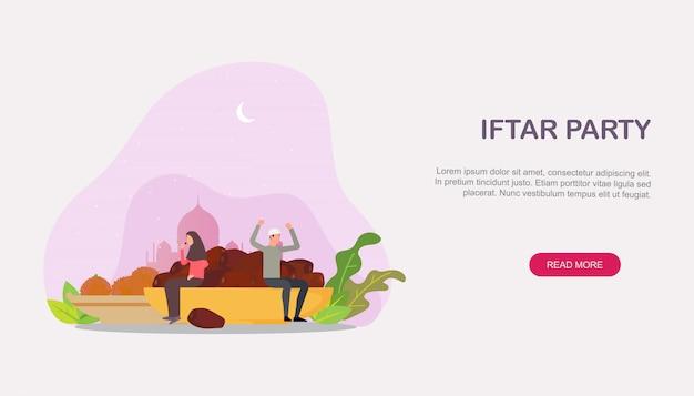Família islâmica iftar comendo após a página de destino do jejum