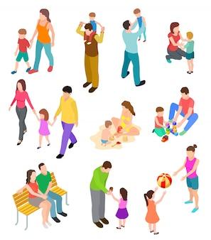 Família isométrica pais de crianças em diferentes atividades domésticas e ao ar livre. conjunto de famílias de pessoas