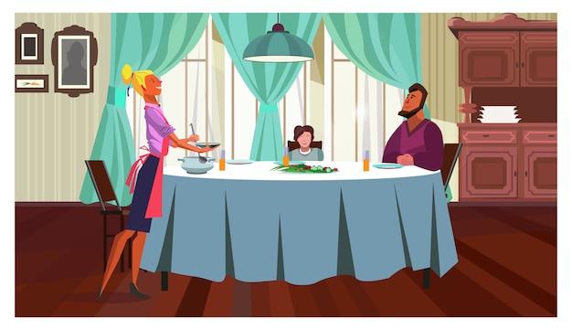 Família, jantar, casa, ilustração