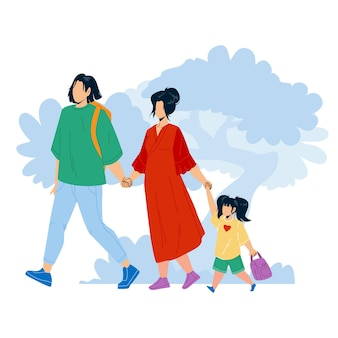 Família japonesa caminhando juntos no parque vector. jovem japonês, mulher e menina criança de mãos dadas e caminhar ao ar livre. personagens pai, mãe e filha lazer tempo plano ilustração dos desenhos animados