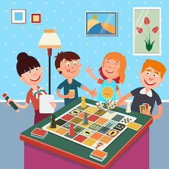 Família jogando jogo de tabuleiro. feliz fim de semana em família.