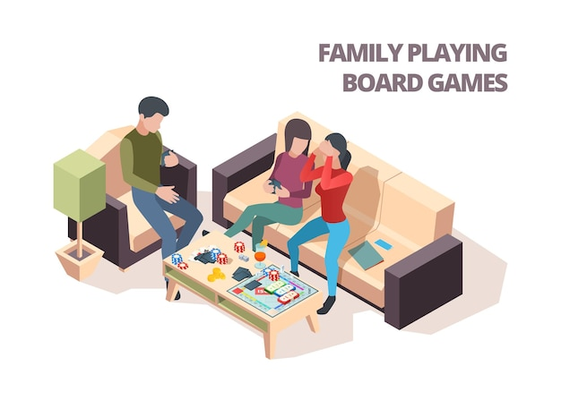 Família jogando jogo de tabuleiro. lazer doméstico de xadrez de monopólio de cartões jogando vetor isométrico pessoas felizes. jogo em família, ilustração do jogo de tabuleiro