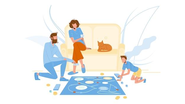 Família jogando jogo de tabuleiro no chão do quarto