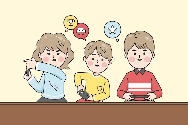 Família jogando videogame Vetor grátis